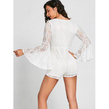 Plunging Neckline Bell Sleeve Lace Romper - WHITE M