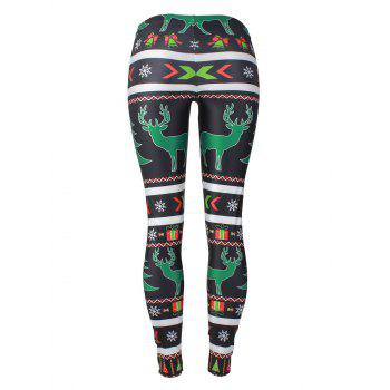 Reindeer Snowflake Leggings - BLACK XL