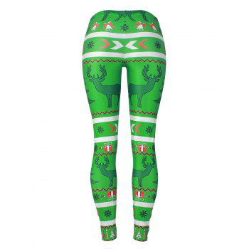 Reindeer Snowflake Leggings - GREEN XL