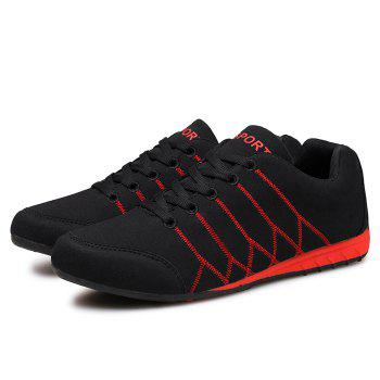 Zig Zag Embroidered Colorblock Suede Sneakers - BLACK RED 42