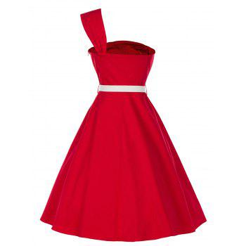 Vintage One Shoulder Pin Up Dress - RED 2XL