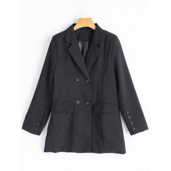 Double Breasted Tunic Blazer - BLACK BLACK