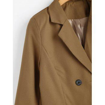 Double Breasted Tunic Blazer - CAMEL S