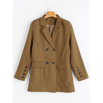 Double Breasted Tunic Blazer - CAMEL L