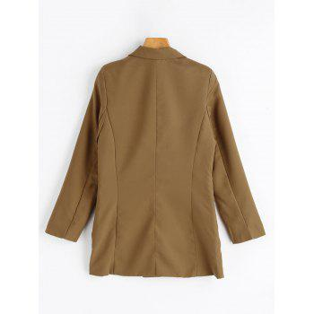Double Breasted Tunic Blazer - CAMEL CAMEL