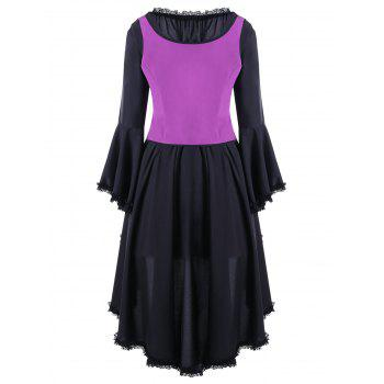 Halloween deux tons robe de cocktail à lacets - Violet Rose L