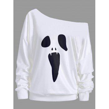 "<P>Halloween Ghost Skew Neck Sweatshirt</P><I Class=""Icon Down Js Tap Up Down""></I> by Dress Lily"