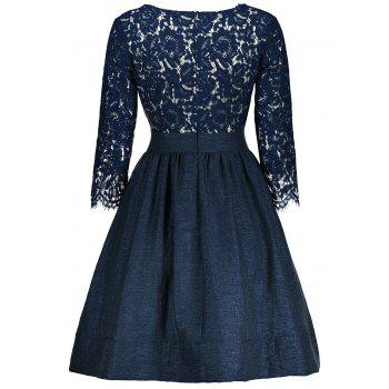 Lace Insert Surplice A Line Dress - PURPLISH BLUE S