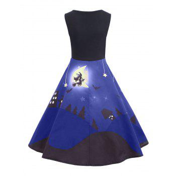 Halloween Bat Castle Vintage A Line Dress - BLUE M