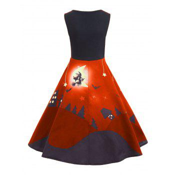 Halloween Bat Castle Vintage A Line Dress - ORANGE 2XL