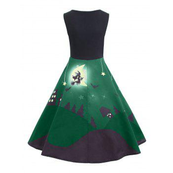Halloween Bat Castle Vintage A Line Dress - GREEN 2XL