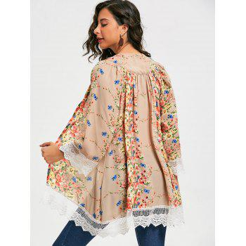 Stylish Collarless Long Sleeve Floral Print Laciness Women's Kimono Blouse - FLORAL S