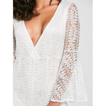 Plunging Neckline Bell Sleeve Lace Romper - WHITE WHITE