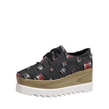 Denim Plaid Square Toe Wedge Shoes - BLACK BLACK