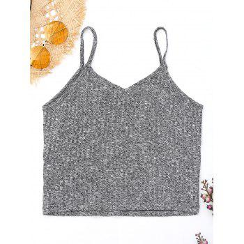 Flower Embroidered Knitted Cami Top - GRAY GRAY