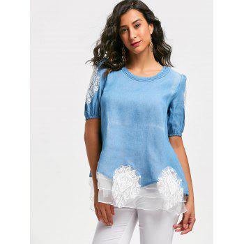 Lace Splicing Sweet Scoop Neck Diamante 1/2 Sleeve Denim Women's Blouse - BLUE M