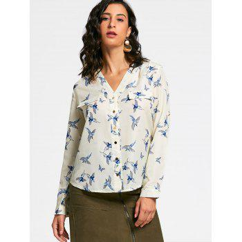 V Neck Full Bird Print Long Sleeve Shirt - BEIGE XL