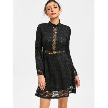 Mock Neck Back Tie-up robe en dentelle - Noir L