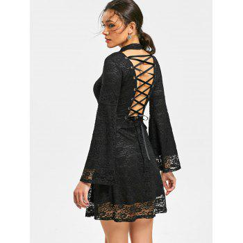Mock Neck Back Tie-up Lace Dress - BLACK L