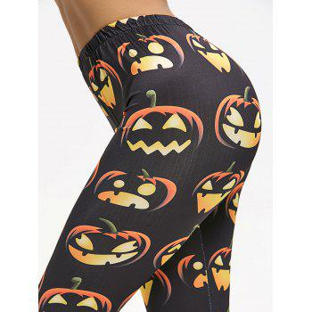 Halloween Pumpkin Leggings - BLACK M