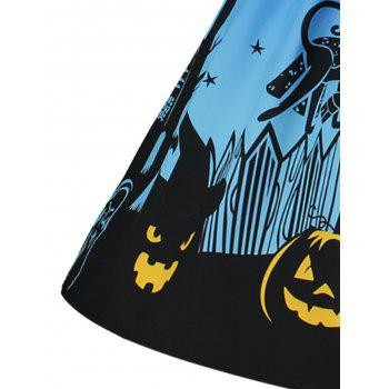 Halloween Pumpkin Plus Size Mesh Panel Dress - BLUE XL