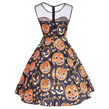 Halloween Pumpkin Mesh Yoke Mini Dress - COLORMIX M