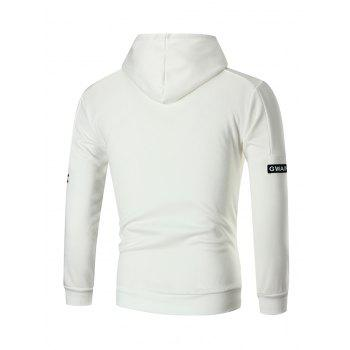 Letter Print Sleeve Pullover Hoodie - WHITE 3XL