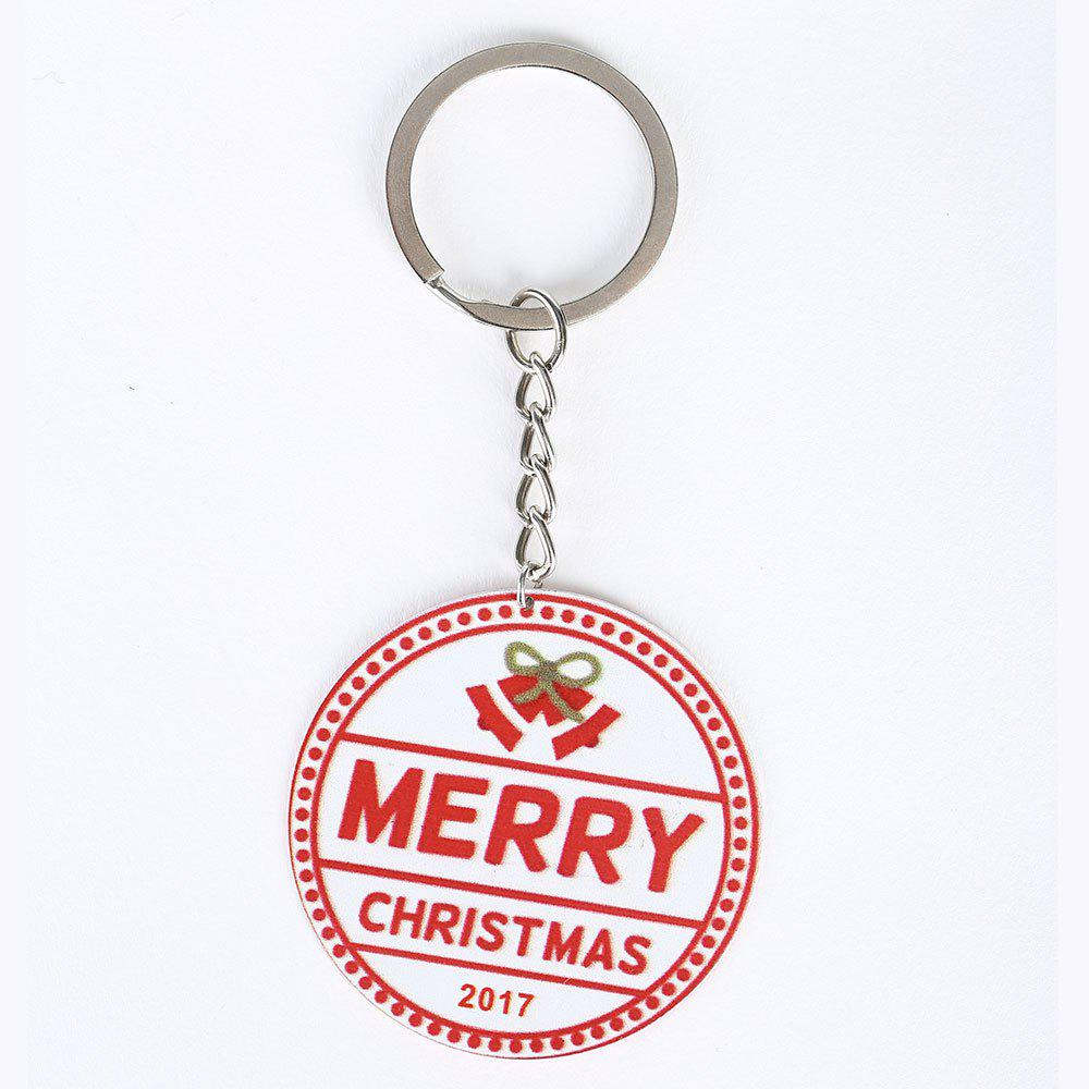 Round Christmas Letter Metal Key Chain - RED