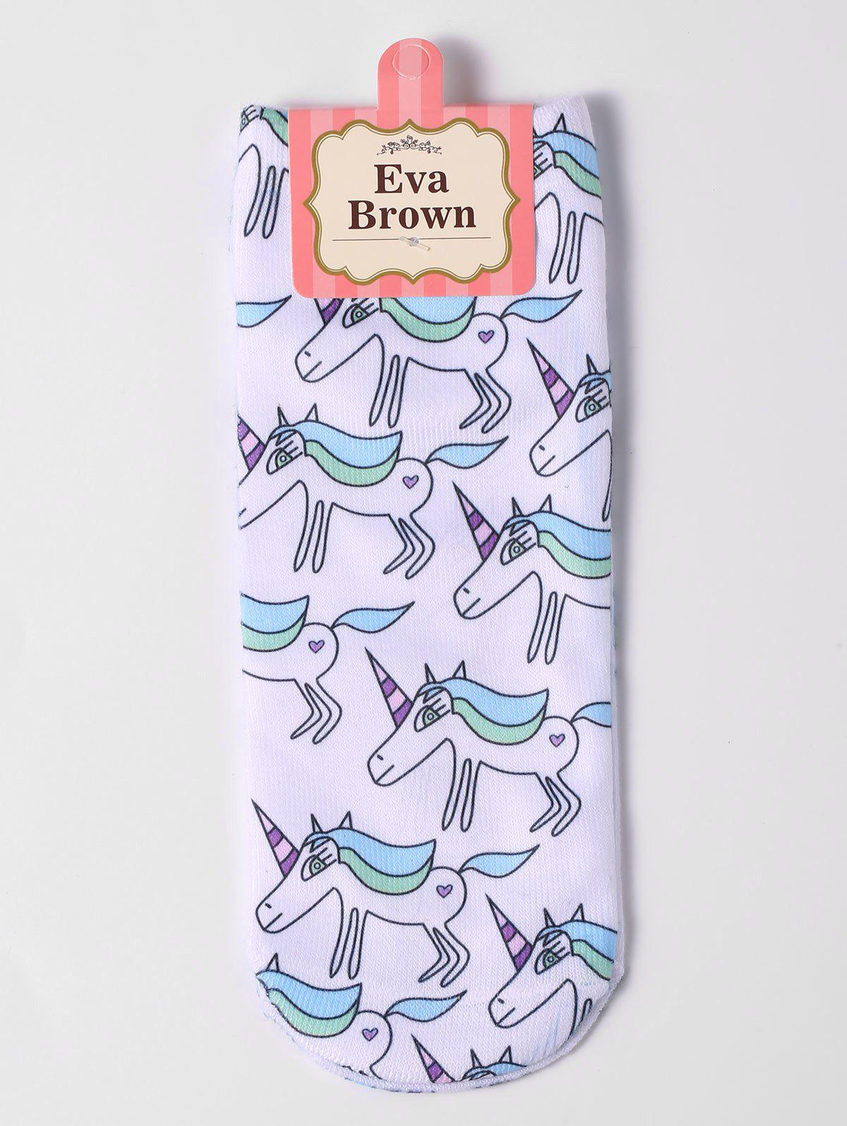 Cartoon Unicorn Pattern Ankle Socks - WHITE