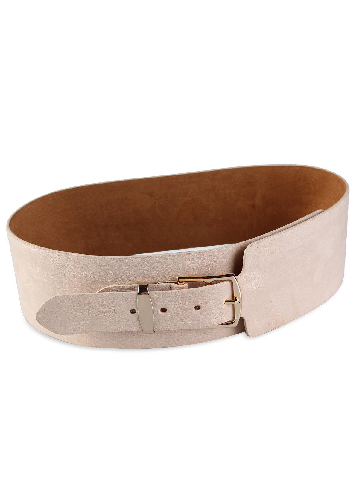 Vintage Metal Buckle Decorated Wide Waist Belt - BEIGE