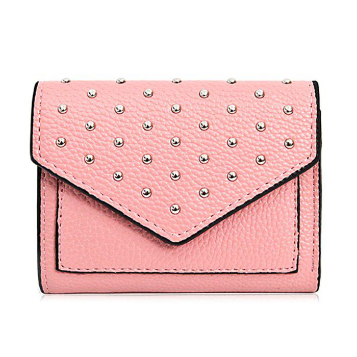 Triangle Geometric Rivets Wallet - PINK