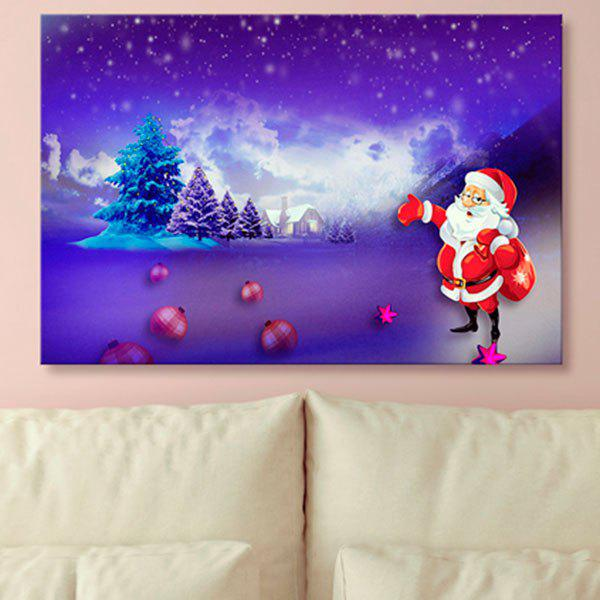 Santa Claus Print Canvas Wall Art Christmas Painting - BLUE VIOLET 1PC:24*43 INCH( NO FRAME )
