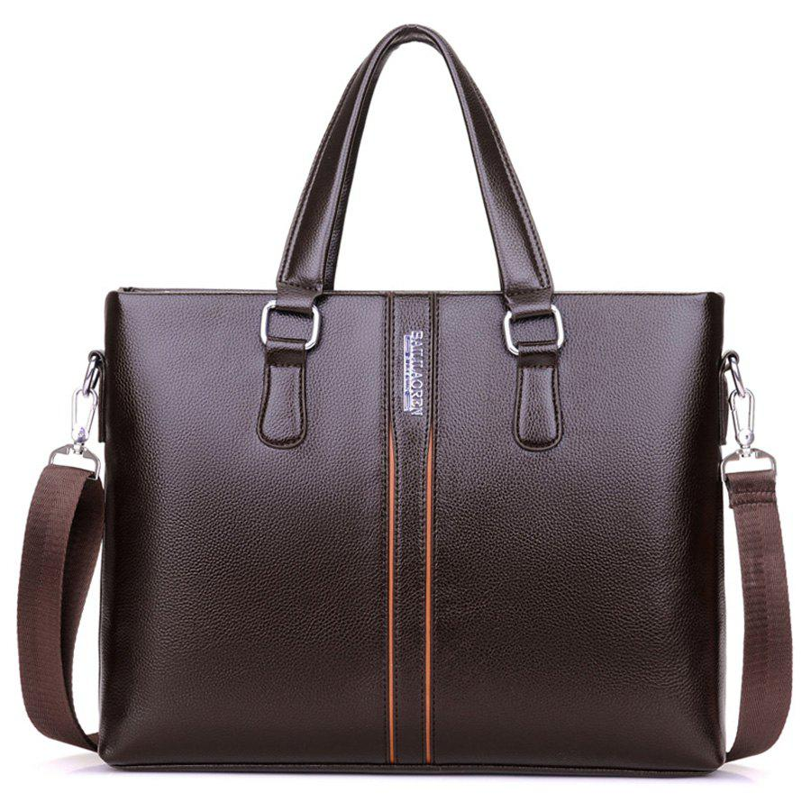 Top Handle Letter Color Block Handbag - BROWN