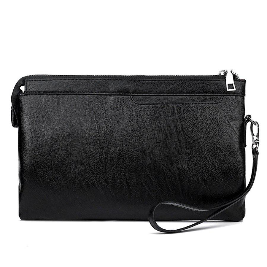 Faux Leather Zip Wristlet Bag - BLACK