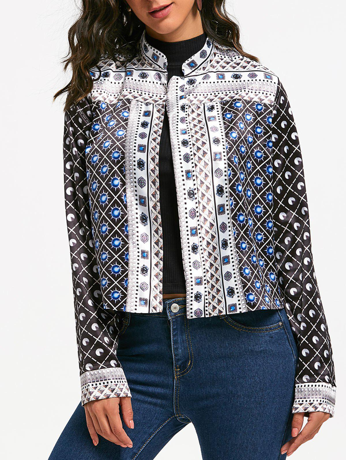 Printed Cropped Jacket - BLACK L