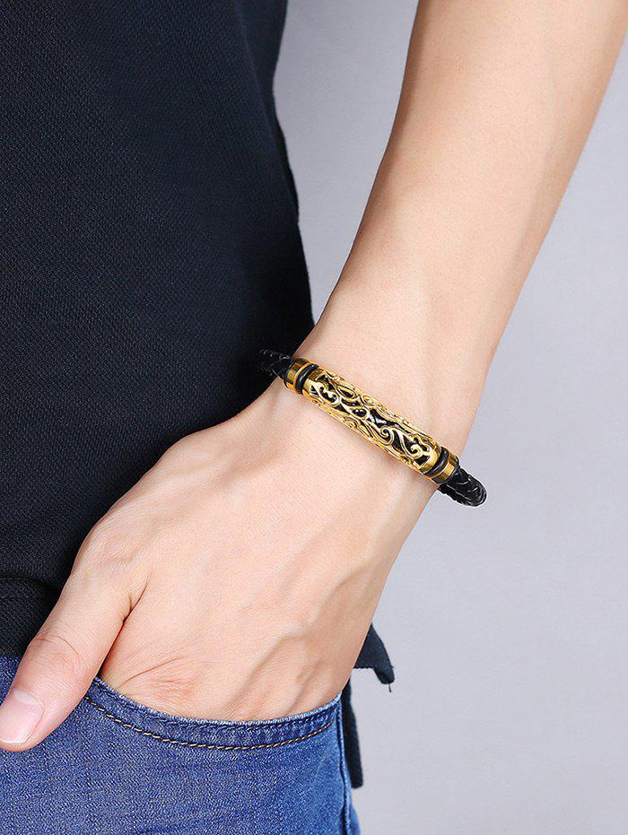 Hollow Out Carve Alloy Faux Leather Weaving Bracelet - GOLDEN