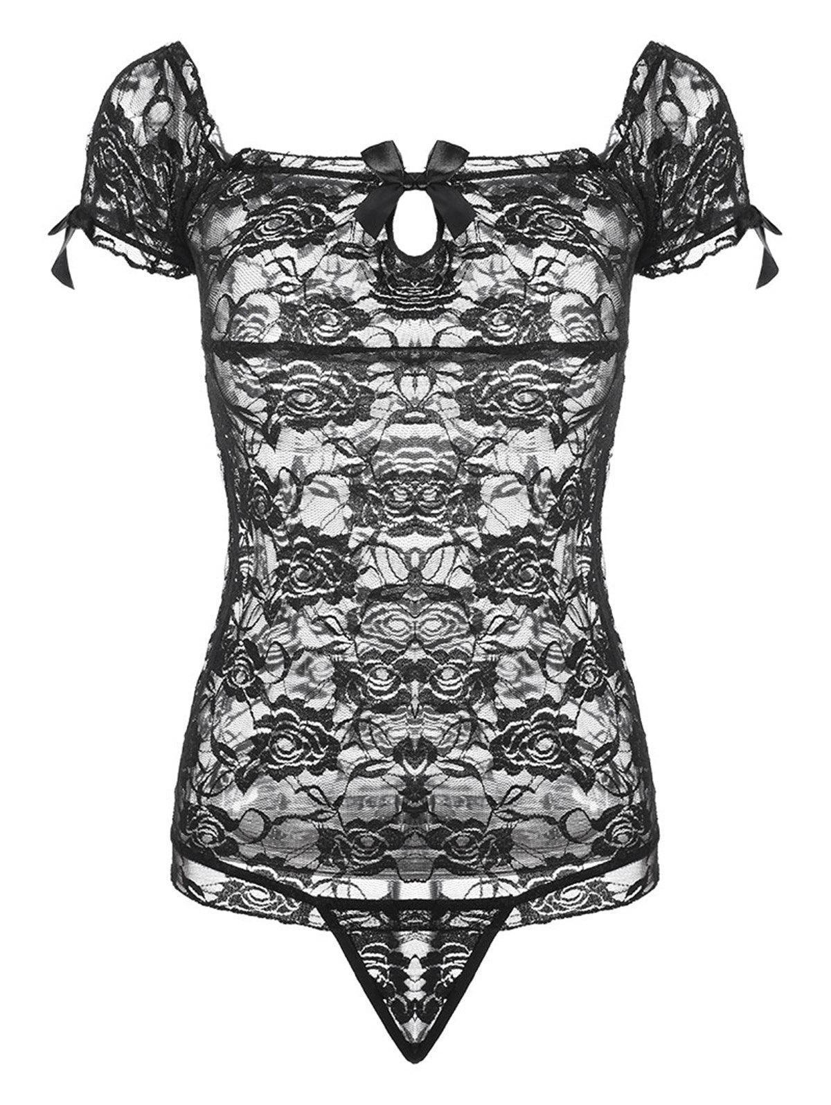 Lace See Through Short Babydoll - Noir ONE SIZE