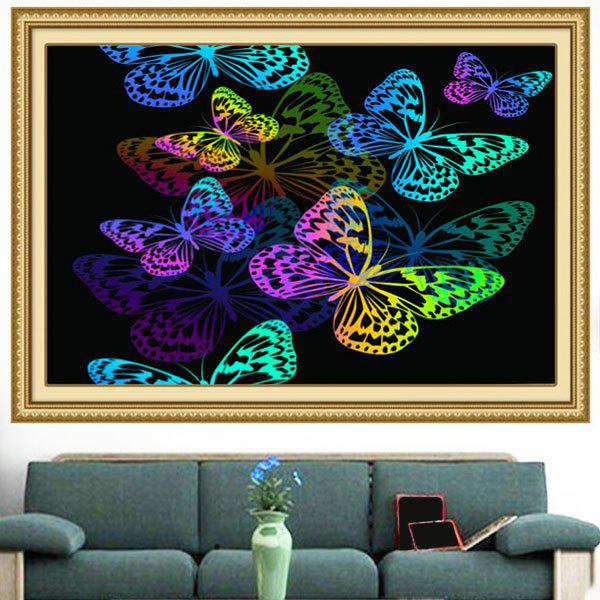 Multifunction Colorful Butterflies Pattern Stick-on Wall Art Painting - COLORFUL 1PC:24*35 INCH( NO FRAME )