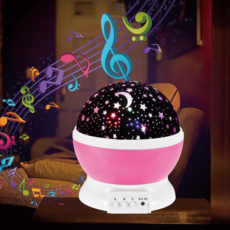 Rotary Flashing Starry Sky Music Decorative Novelty Light - PINK