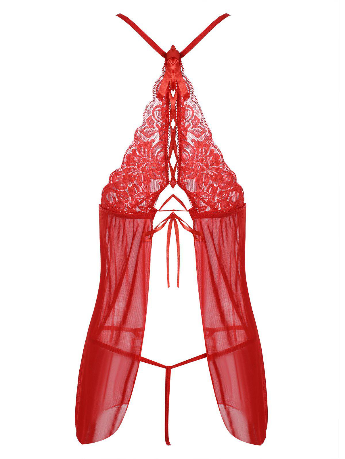 Mesh Plunge Slip Babydoll with Lace - RED ONE SIZE