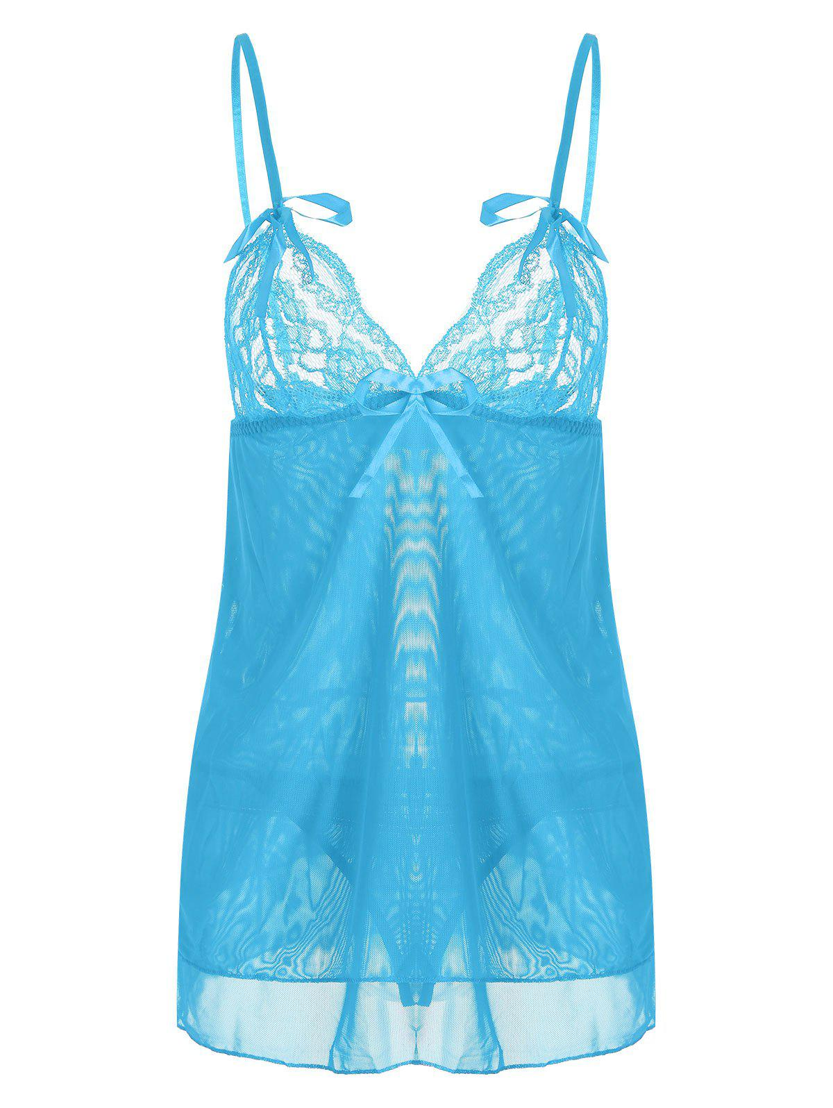 Tier Mesh Lace Slip Babydoll - Nuageux ONE SIZE