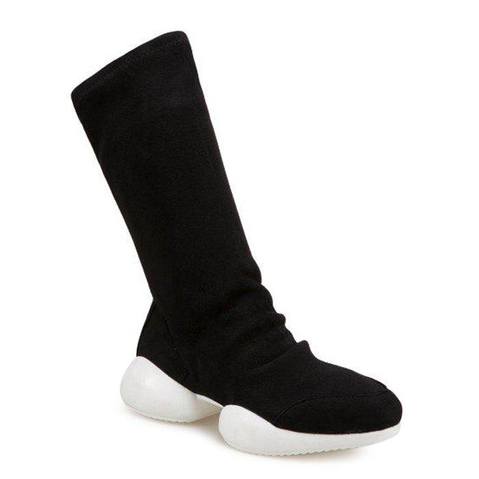 Mid Calf Slip On Faux Suede Boots - BLACK 37