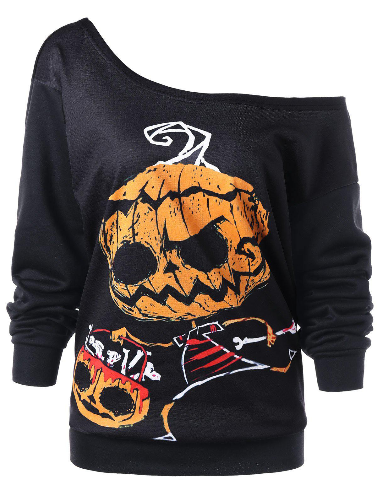 Halloween Plus Size Skew Collar Graphic Sweatshirt plus size halloween bat stars skew neck sweatshirt