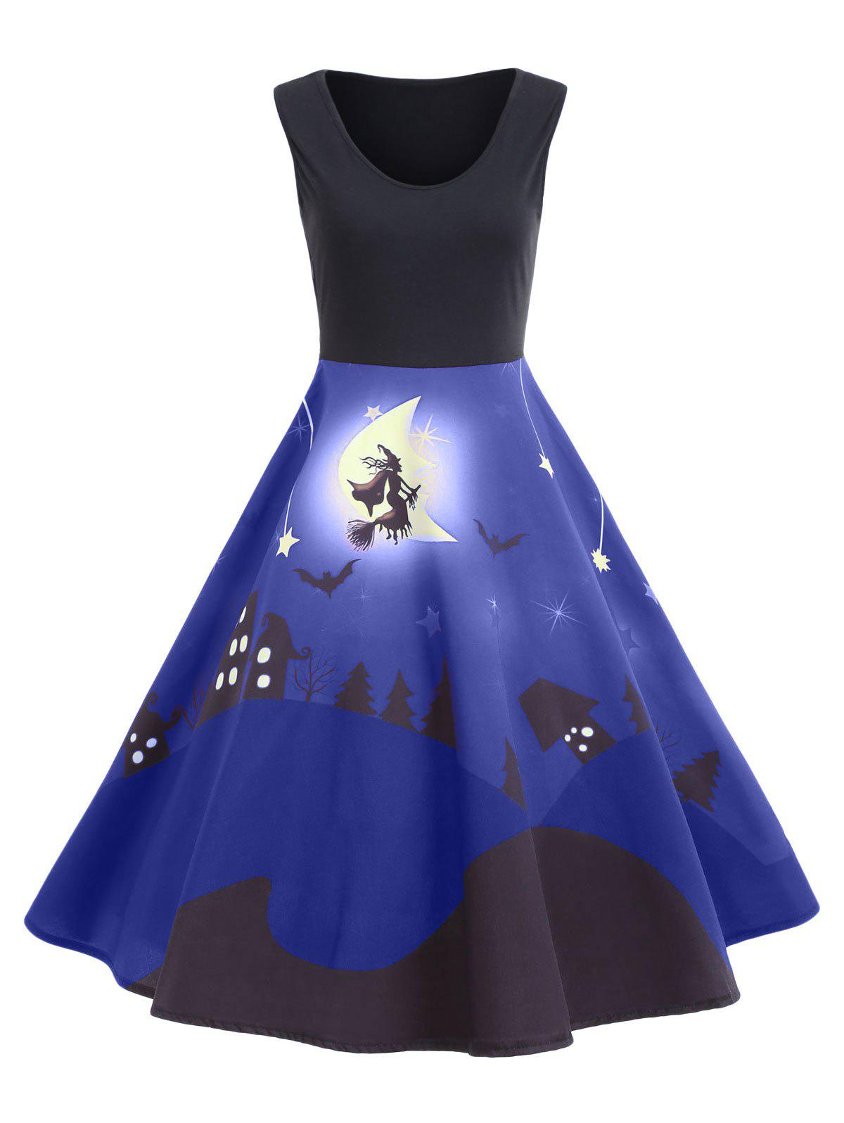 Halloween Bat Castle Vintage A Line Dress - BLUE XL