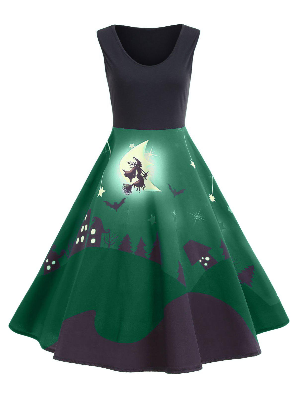 Halloween Bat Castle Vintage A Line Dress - GREEN XL