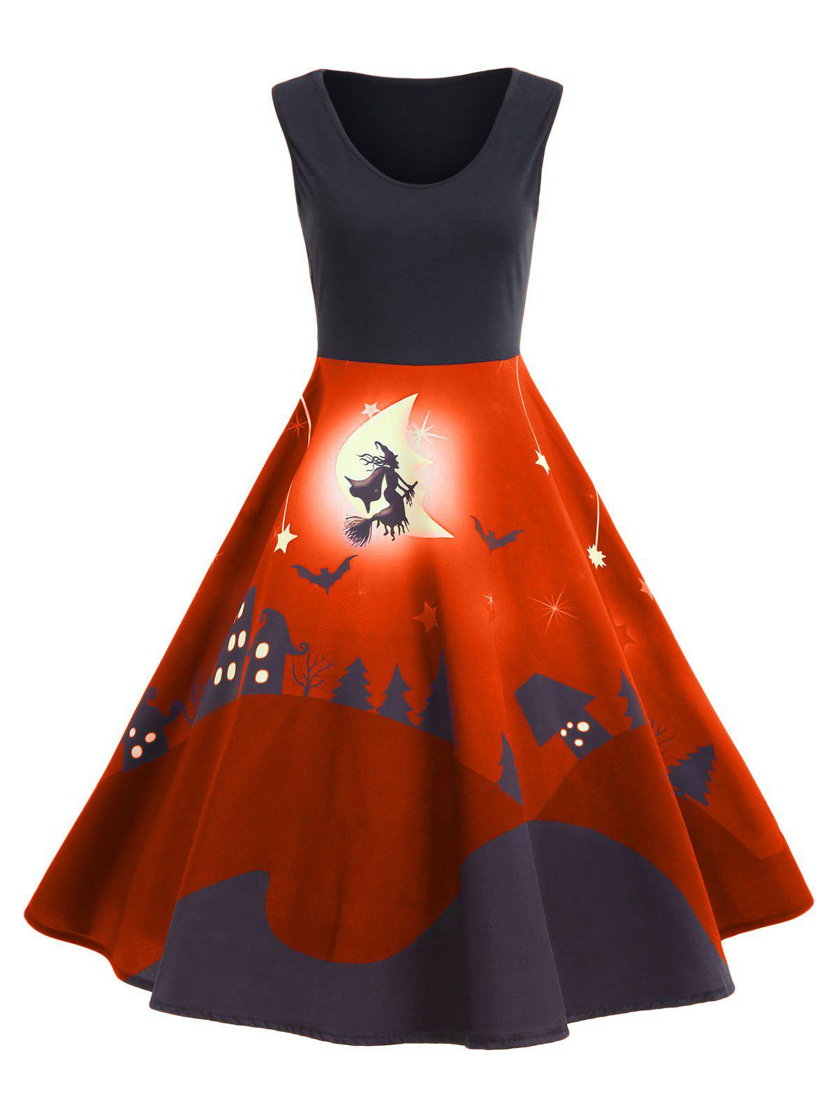 Halloween Bat Castle Vintage A Line Dress - ORANGE L