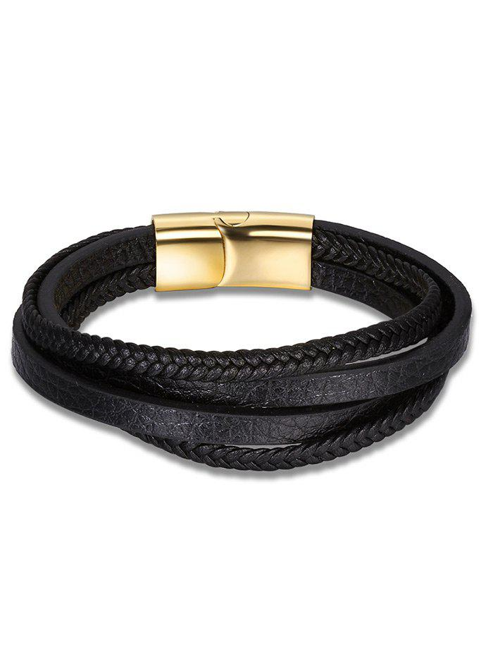 Multilayered Faux Leather Braid Bracelet - BLACK