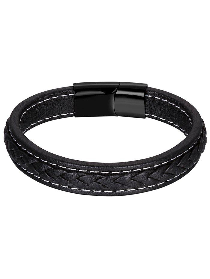 Bracelet Braid Faux Leather - Noir