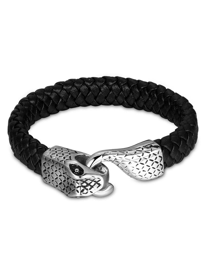 Vintage Faux Leather Braid Snake Bracelet - BLACK