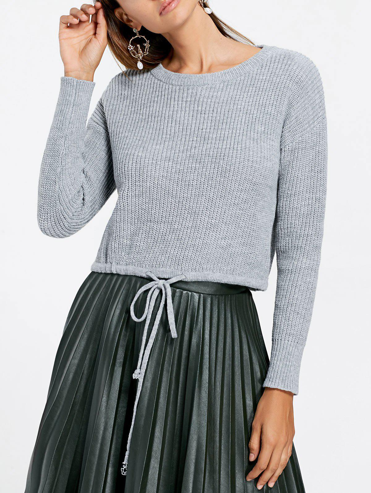 Drawstring Crew Neck Cropped Sweater - GRAY M